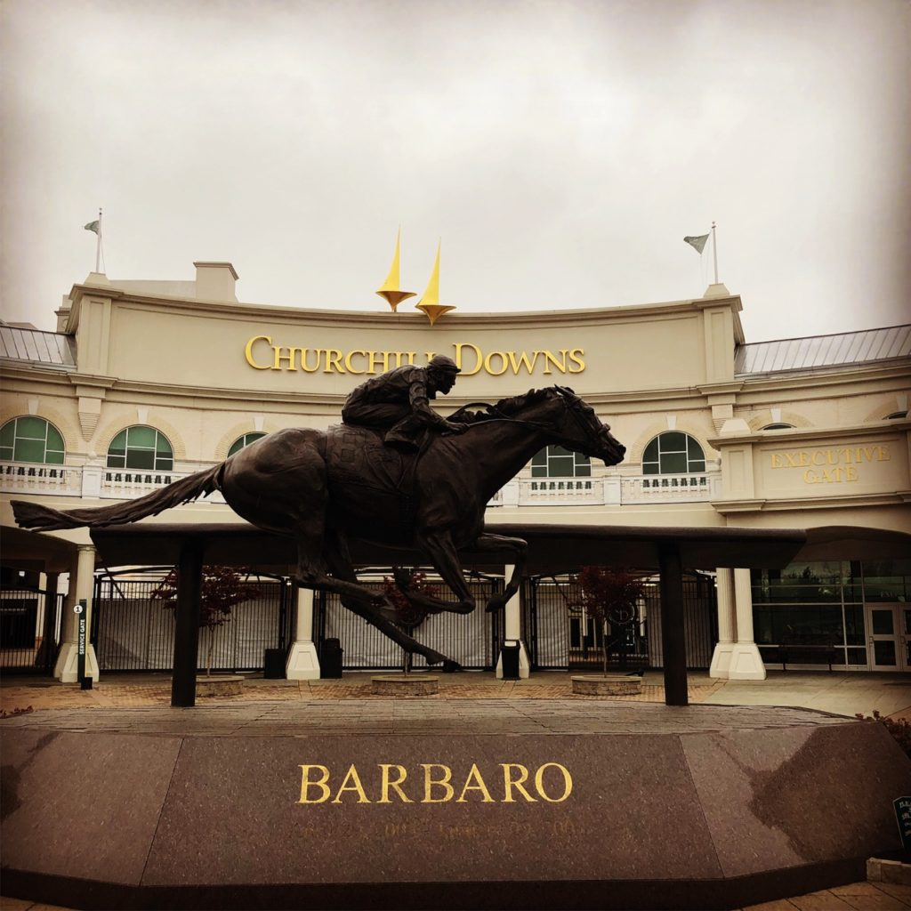 Barbaro, Life size bronze horse and rider outside of Churchill Downs museum